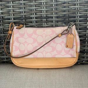Coach signature thank handbag with tan leather